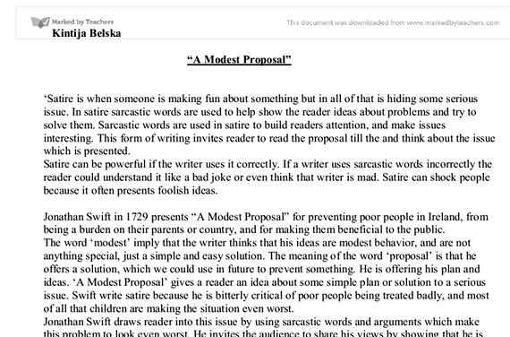 A modest proposal jonathan swift essay