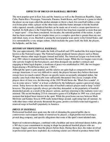 baseball thesis statement