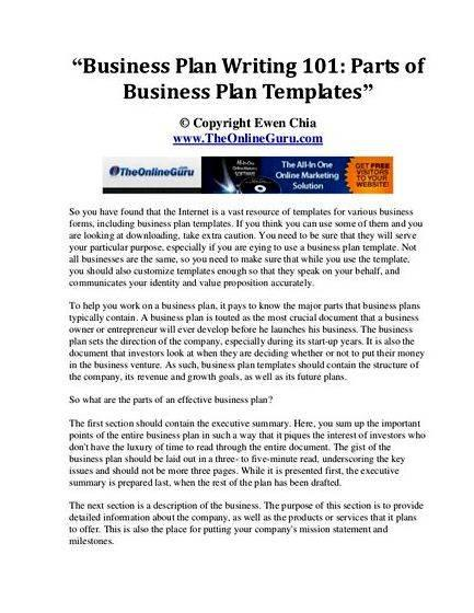 Business plan writing 101 course Aggressive Analysis