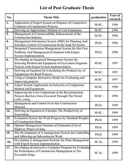Construction Management Dissertation Topics