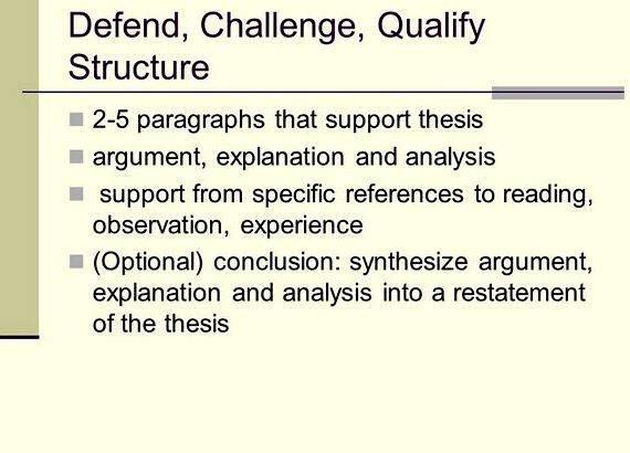 defend challenge qualify thesis statement