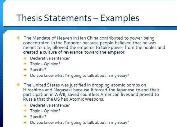 Examples Thesis Statements Essays