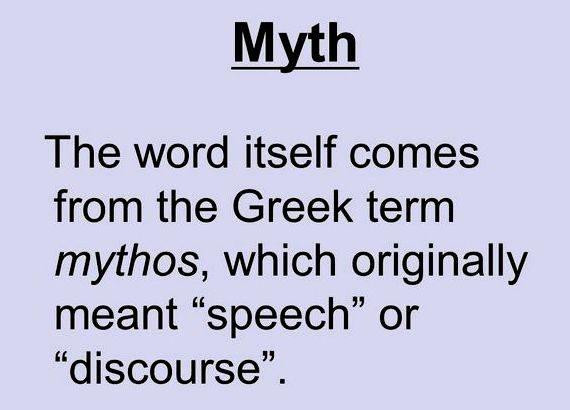 Define mythos in speech or in writing result of evils in institutions