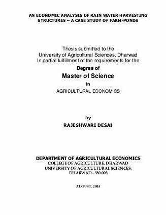 Dharwad agricultural university electronic thesis and dissertations