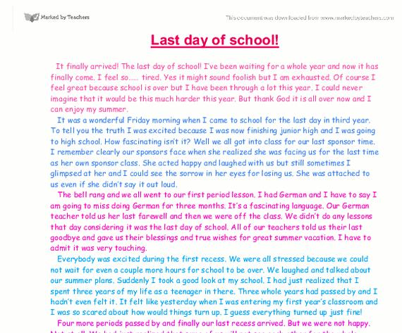 Essay about service your school days
