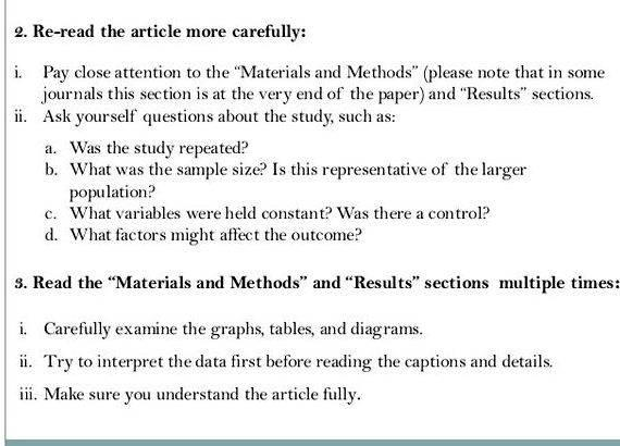 Guidelines for writing journal articles along with the photocopy of