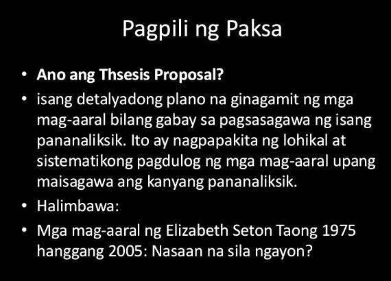 halimbawa ng research proposal Writing the proposal of a research work in the present era is a challenging task  due to the constantly evolving trends in the qualitative research design and the.