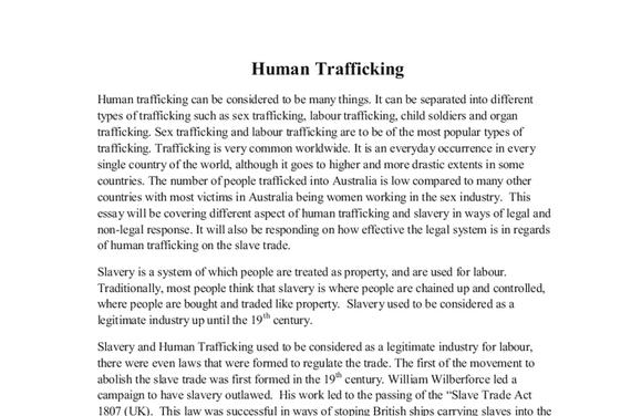 human trafficking essay thesis Human trafficking essays introduction human trafficking is phrase that is used to describe the various ways in which a person obtains or holds another person in.