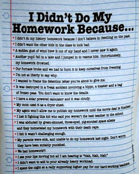 I must do my homework of putting your homework
