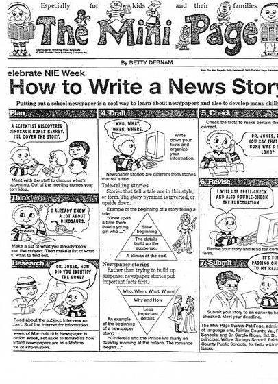 Help to write a newspaper article