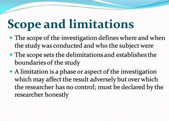 dissertation limitations study Sample dissertation overview in addition, listing limitations of the study outside the control of the researcher, as well as assumptions held by the researcher are.