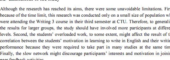 Thesis study limitations
