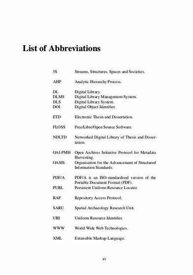 Master thesis abbreviation