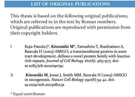 List of publication thesis