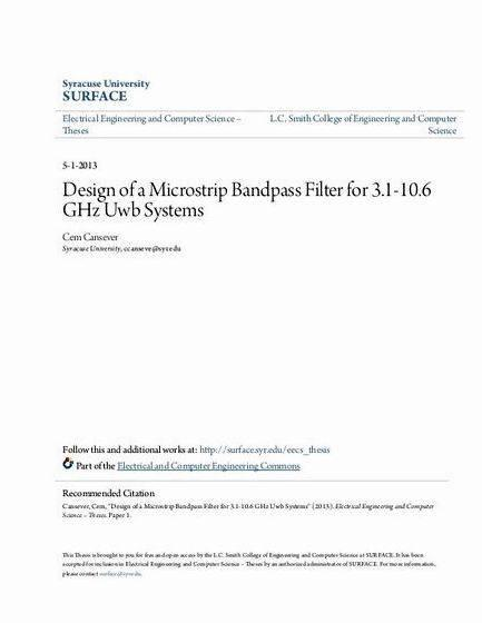 Microstrip bandpass filter thesis proposal resonators optimization or