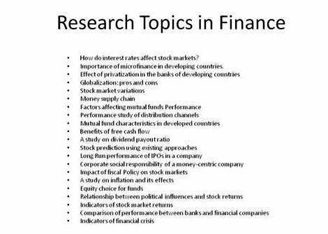 20 Dissertation Topics in Accounting and Finance