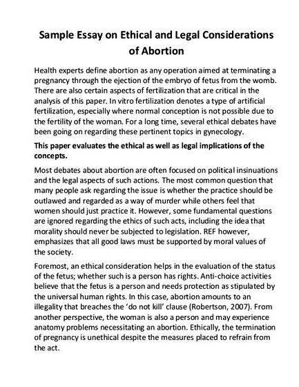 Good thesis for pro abortion