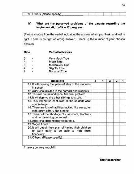 Thesis Sample Questionnaire For Survey Image Gallery  Hcpr