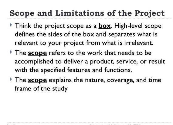 "the scope and limitation of the study an example Scope and limitations of the study example #1 online student registration and billing system example #2 sample of scope and limitation: ""comparison and contrast of object oriented programming between visual basic 60 and java netbeans."