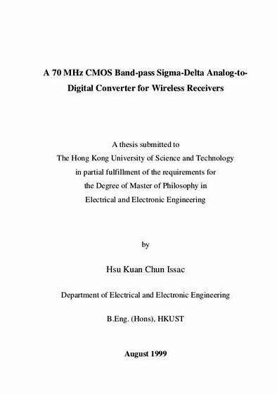 Sigma delta adc thesis proposal IEEE Transactions on Circuits and