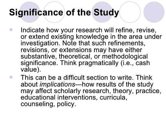 what is significance of the study in thesis writing Of the problem will guide you to write a significance of the study the methodology chapter of a qualitative study by philip adu, ph.