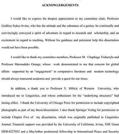 Thesis writing sample of acknowledgement for project initiate writing