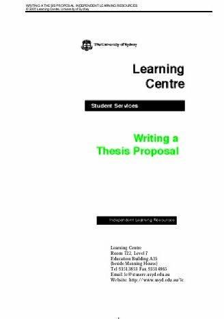 University of western sydney thesis proposal session must commence
