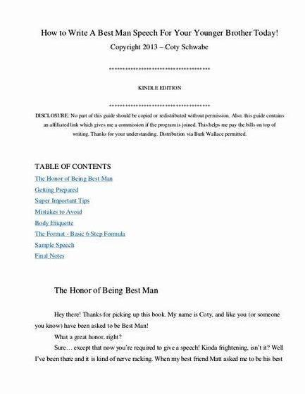 Best Man Sch Outline Examples Wedding Ideas