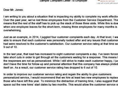 How to write a letter of complaint to boss