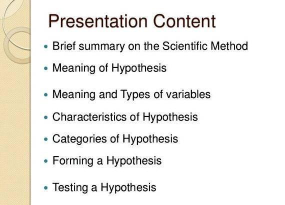 writing a good hypothesis presentation