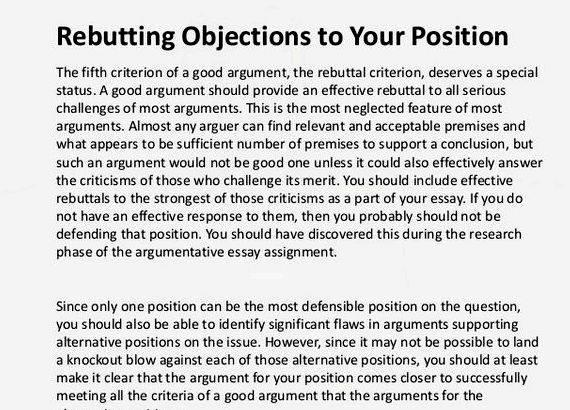 rebuttal essay Counterargument & rebuttal in writing use the following sentence starters in order to incorporate counterarguments and rebuttals in your writing.