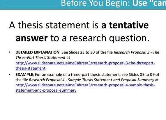 How to write a tentative thesis statement