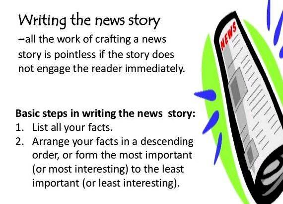 writing a news article Writing a news report for from there, you are responsible for brainstorming the details and information you will need to write a full news report learning goals / purpose of the presentation i can identify the difference between a news report and a news cast i.