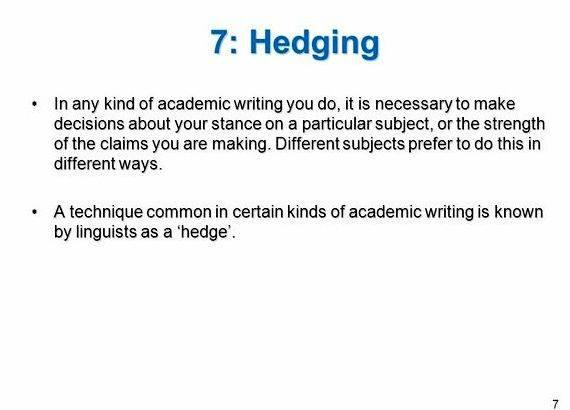 Academic writing style hedging your bets type of