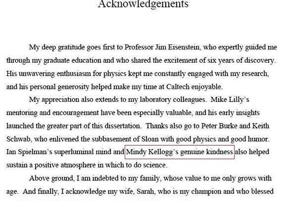 Acknowledgement Sample Phd Thesis Dissertation