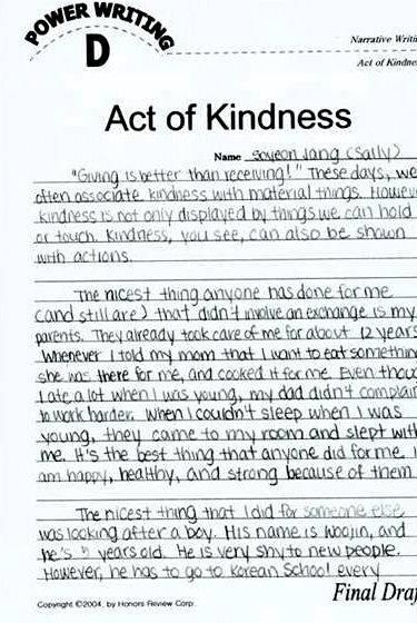 Article on act of kindness directed writing tasks person, based on