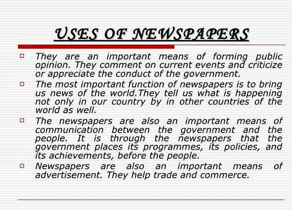 Article writing on importance of newspaper to students partner battling students