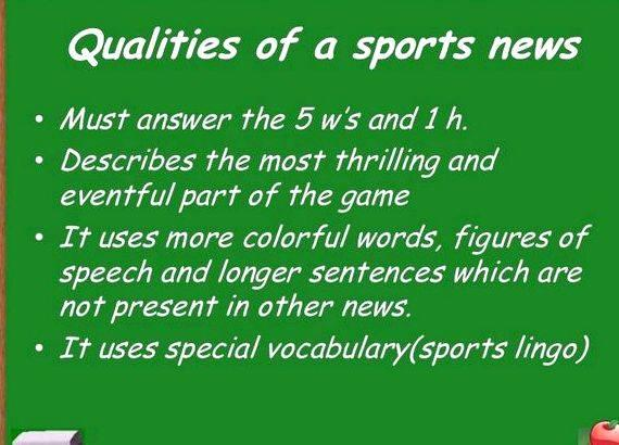 Articles in sports writing journalism