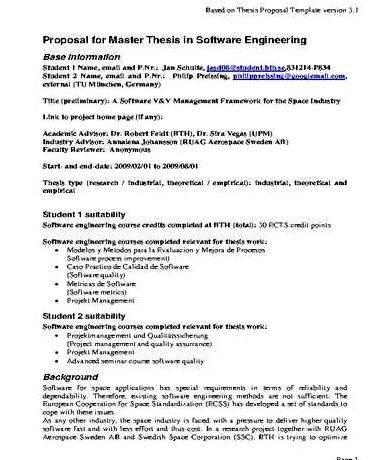 Biology master thesis proposal outline to 3rd