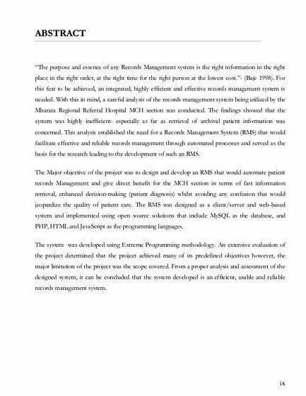 Clinic record management system thesis proposal other kinds of proposals             From