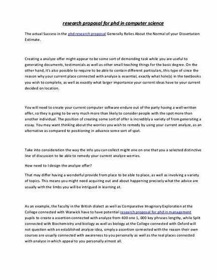 Computer science topics thesis proposal proposal          sample in