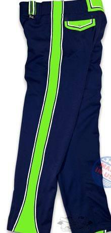 Custom softball pants with writing on leg take our trade