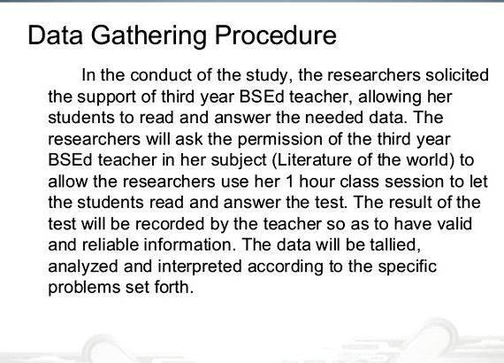 Data gathering procedures thesis proposal Performing Arts Scholars and Honors