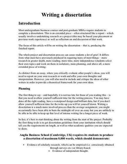 dissertation format uk