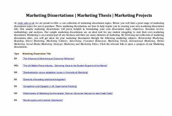 Dissertation proposals marketing