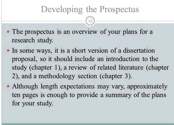 Dissertation proposal prospectus