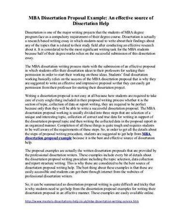 Mba Thesis Proposal Sample Pdf - Sample Thesis Proposal For Business