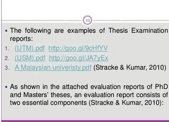 Examiners Report On Phd Thesis Writing