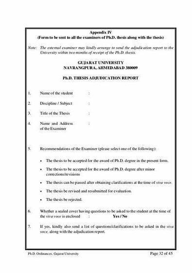 Phd thesis examination report