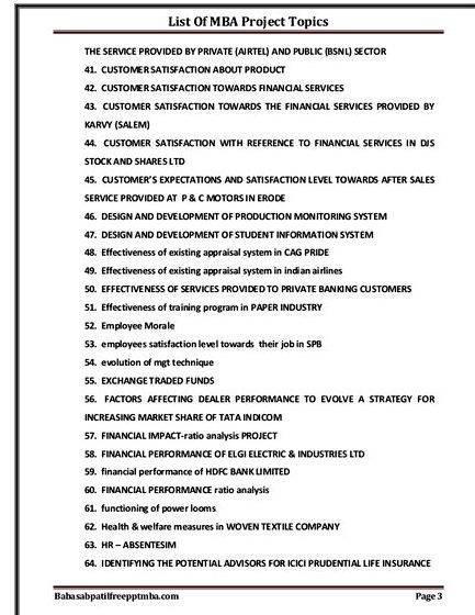 Dissertation proposal mba finance